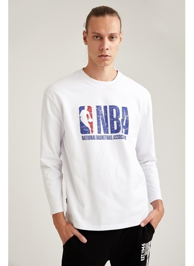 DeFacto Oversize Fit NBA Lisanslı Bisiklet Yaka Sweatshirt Beyaz